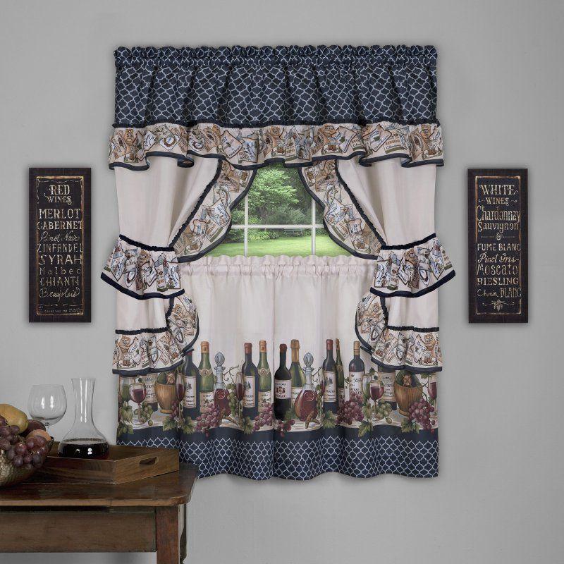 Featured Image of Chateau Wines Cottage Kitchen Curtain Tier And Valance Sets