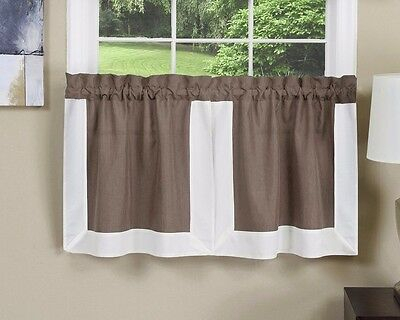 Achim Gramercy Tier Pair 56 X 24 Toffee Brown Kitchen Curtains 54006630426 | Ebay Throughout Tranquility Curtain Tier Pairs (View 24 of 25)