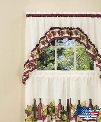 Achim Home Furnishings Chardonnay Tier And Swag Set, 57 Inch36 Inch, Burgund 885392166790 | Ebay Regarding Chardonnay Tier And Swag Kitchen Curtain Sets (View 2 of 25)
