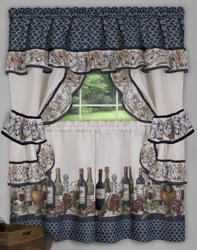 """Achim Home Furnishings Chateau Window Curtain Cottage Set, 57"""" X 24"""", Navy Regarding Chateau Wines Cottage Kitchen Curtain Tier And Valance Sets (View 4 of 25)"""