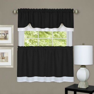 Achim Home Furnishings Darcy Window Curtain Tier & Valance Set 58X24/58X14  | Ebay Inside Coastal Tier And Valance Window Curtain Sets (Image 1 of 25)