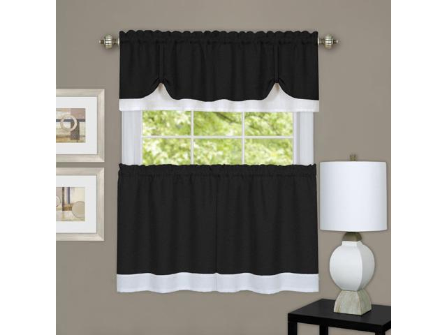 Achim Home Furnishings Drtv24Bw12 Darcy Window Curtain Tier & Valance Set 58X24/58X14, Black & White – Newegg Throughout Window Curtain Tier And Valance Sets (View 10 of 25)