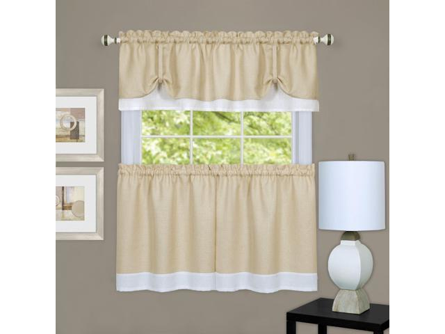 "Achim Home Furnishings Drtv36Tw12 Darcy Window Curtain Tier Pair & Valance  Set, 58"" X 36"" With 14"" Valance, Tan/white, Pair, Tan & White – Newegg Throughout Window Curtain Tier And Valance Sets (Image 8 of 25)"