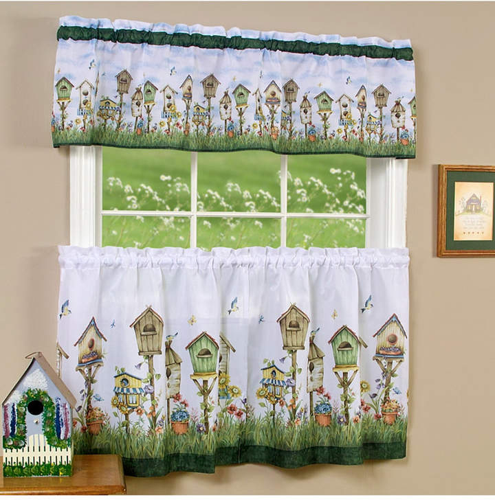 Achim Home Sweet Home Tier And Valance Window Curtain Set Within Traditional Tailored Tier And Swag Window Curtains Sets With Ornate Flower Garden Print (View 2 of 25)