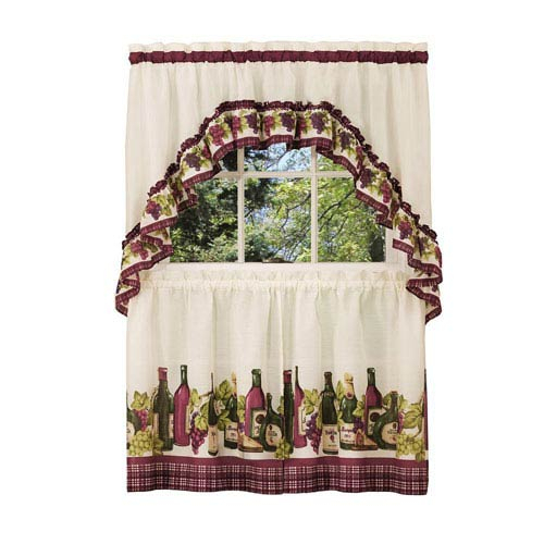 Achim Importing Company Chardonnay Burgundy 57 X 36 Inch Printed Tier And Swag Window Set Within Chardonnay Tier And Swag Kitchen Curtain Sets (View 13 of 25)