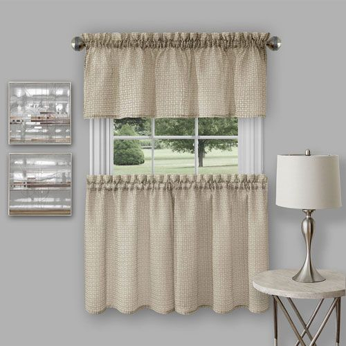 Achim Importing Company Richmond Tan Curtain Tier Pair And Inside Hopscotch 24 Inch Tier Pairs In Neutral (Image 2 of 25)