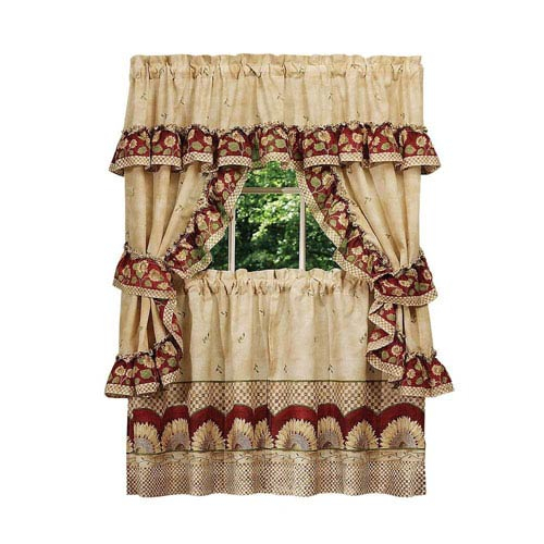 Achim Importing Company Sunflower Cottage Window Curtain Set Intended For Sunflower Cottage Kitchen Curtain Tier And Valance Sets (View 8 of 25)