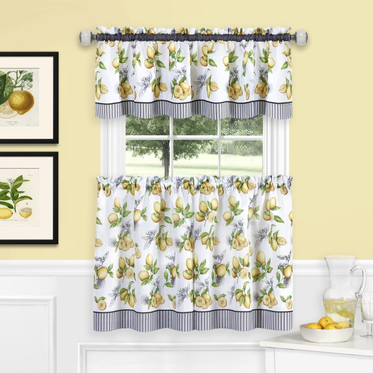 Achim Lemon Drop Tier And Valance Window Curtain Set – 58X24 – Yellow In Wallace Window Kitchen Curtain Tiers (View 24 of 25)
