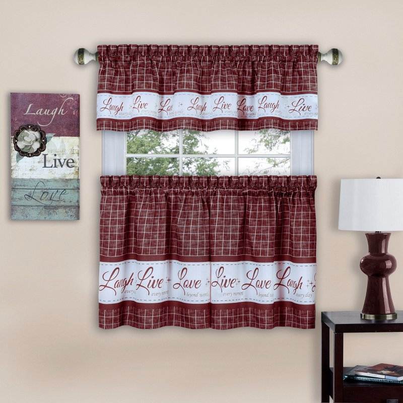 Achim Live Love Laugh Window Curtain Tier Pair And Valance Intended For Grace Cinnabar 5 Piece Curtain Tier And Swag Sets (View 9 of 25)