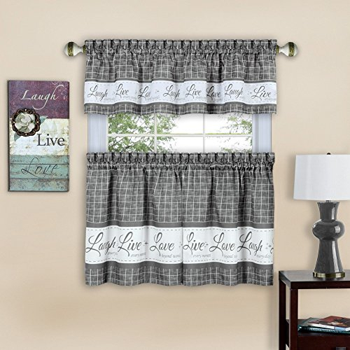 Achim Live, Love, Laugh Window Curtain Tier Pair And Valance Set Intended For Lemon Drop Tier And Valance Window Curtain Sets (View 12 of 25)