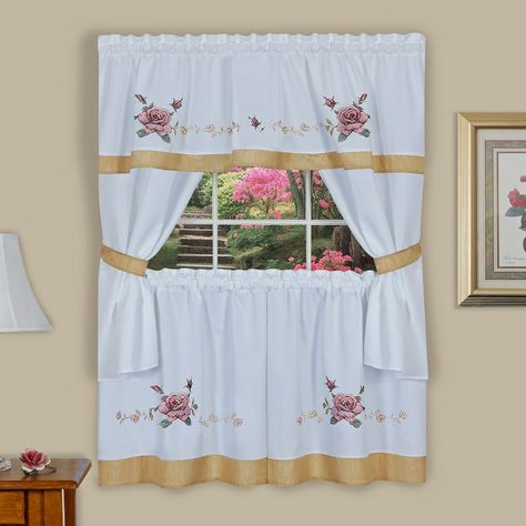 Achim Rose Cross Stitch Embroidered Tier & Swag Valance Intended For Chateau Wines Cottage Kitchen Curtain Tier And Valance Sets (View 6 of 25)