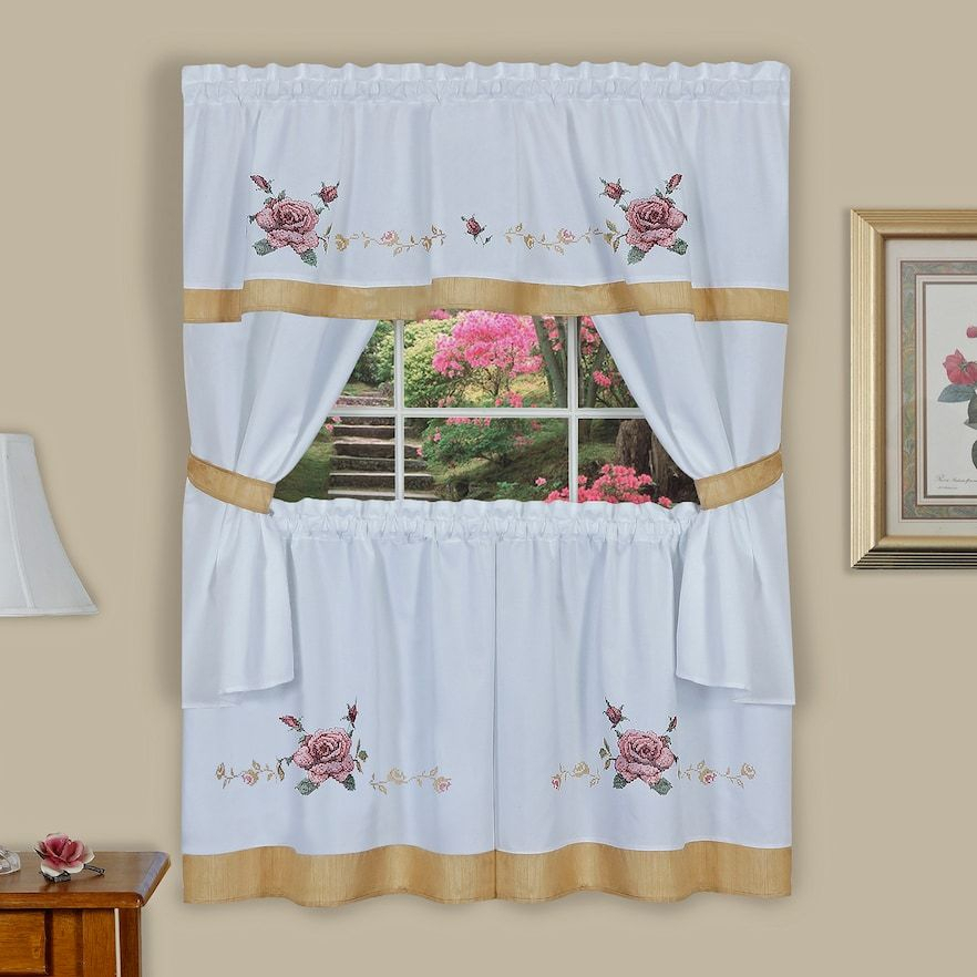 Achim Rose Cross Stitch Embroidered Tier & Swag Valance With Regard To Multicolored Printed Curtain Tier And Swag Sets (View 3 of 25)