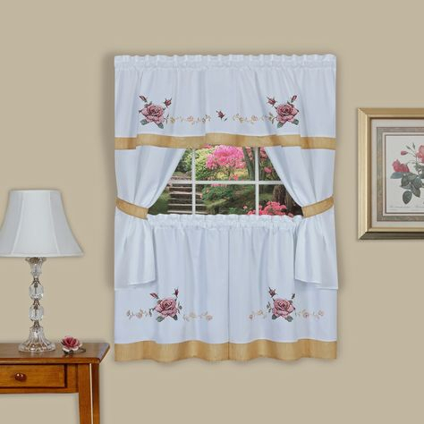Achim Rose Embellished Cottage Window Curtain Set (57X36 Pertaining To Floral Watercolor Semi Sheer Rod Pocket Kitchen Curtain Valance And Tiers Sets (View 2 of 25)