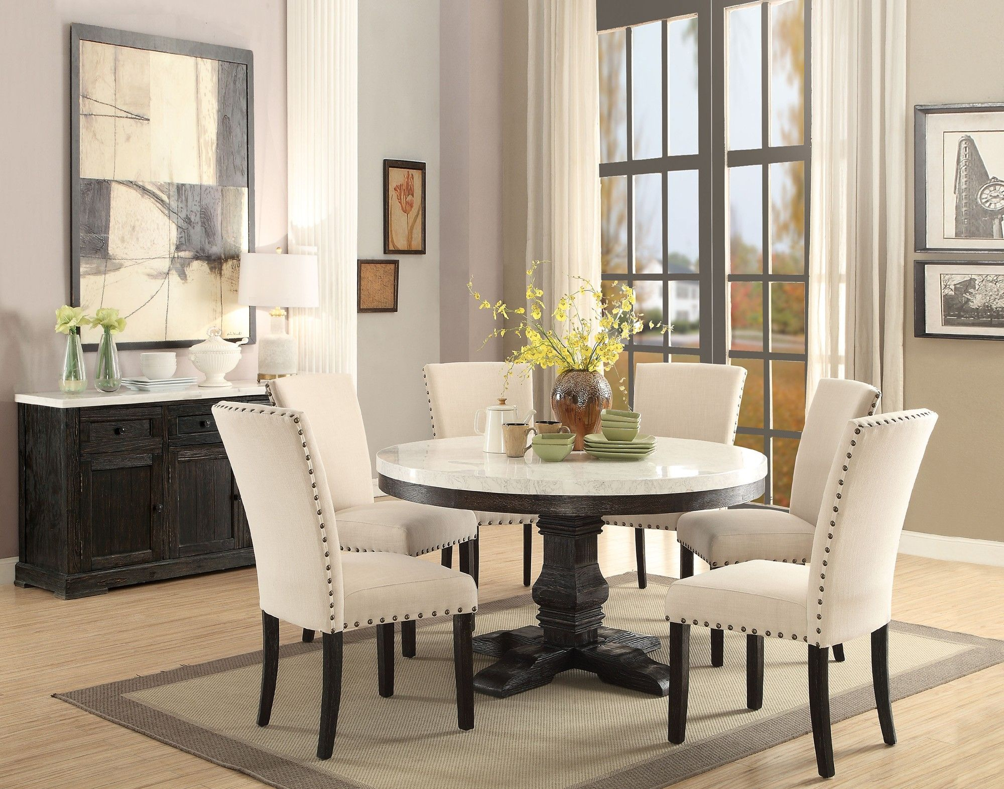 Acme 72845 Nolan 5Pcs White Marble Top Round Dining Table With Newest Nolan Round Pedestal Dining Tables (View 6 of 25)