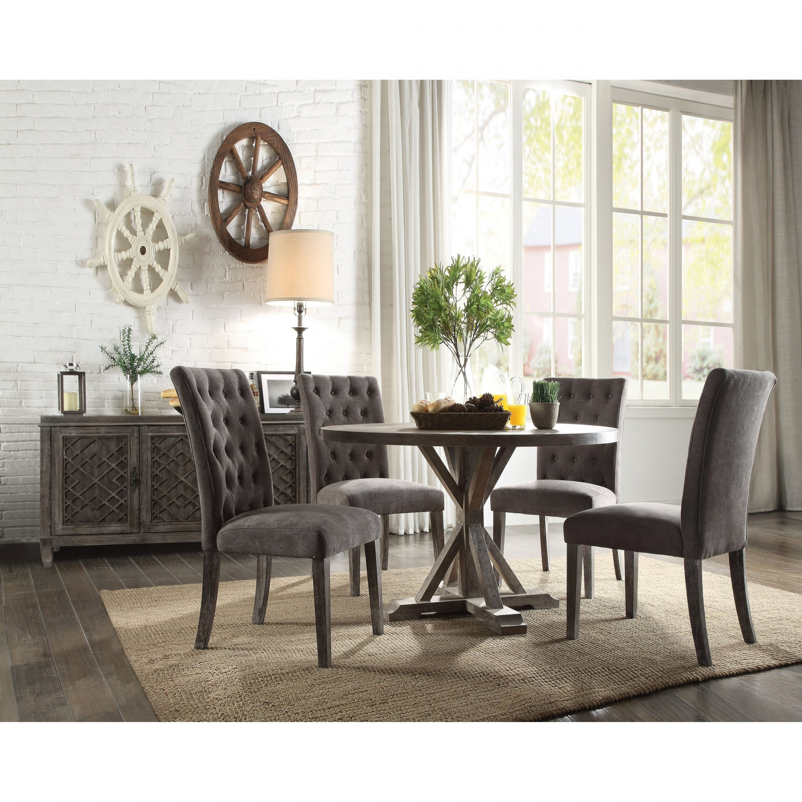 Acme Carmelina Dining Table In Weathered Gray Oak With Regard To Most Current Hearst Oak Wood Dining Tables (Image 5 of 25)