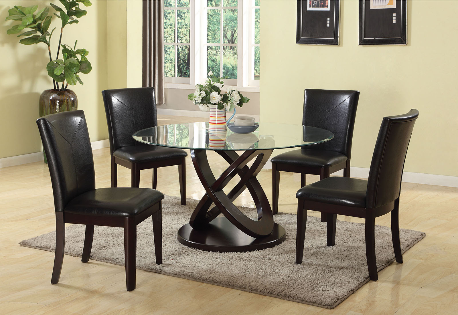 Acme Furniture Gable 5Pc Round Dining Set In Espresso In Current Nolan Round Pedestal Dining Tables (View 19 of 25)