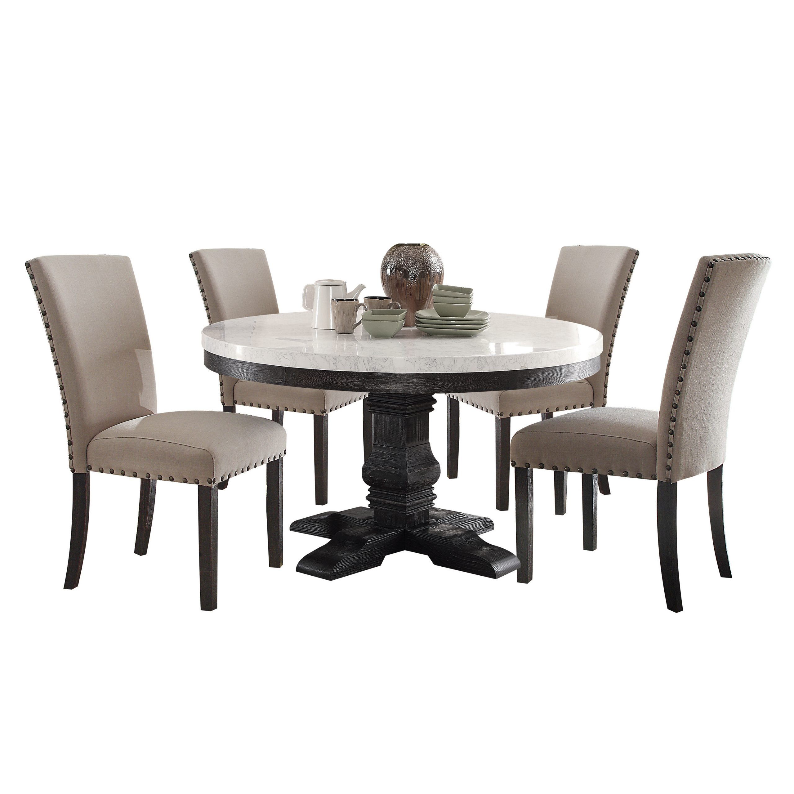Acme Nolan Pedestal Round Dining Table, White Marble & Weathered Black (View 8 of 25)