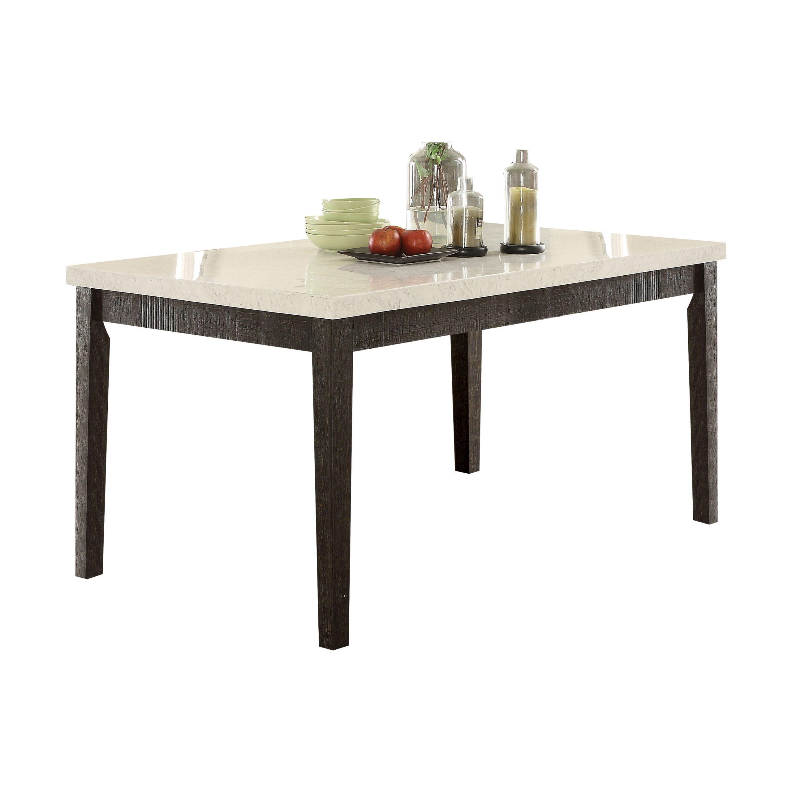 Acme Nolan Rectangular Dining Table, White Marble & Weathered Black (View 18 of 25)