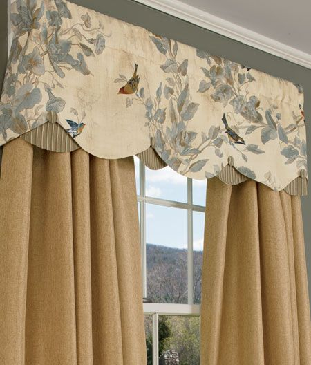 Additional Views: Aviary Lined Layered Scalloped Valance Inside Aviary Window Curtains (Photo 11 of 25)