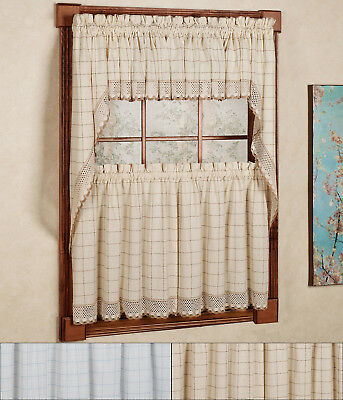 """Adirondack Cotton Kitchen Window Curtain 36"""" Tiers, Swags Pertaining To Cotton Lace 5 Piece Window Tier And Swag Sets (View 10 of 25)"""