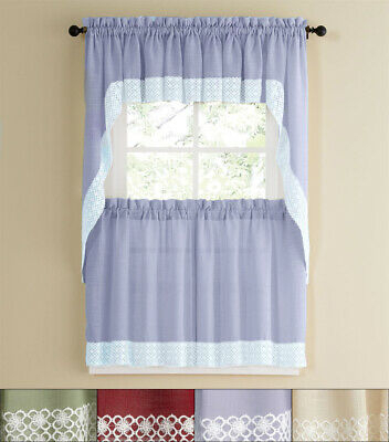 """Adirondack Cotton Kitchen Window Curtain 36"""" Tiers, Swags Within Cotton Classic Toast Window Pane Pattern And Crotchet Trim Tiers (View 2 of 25)"""