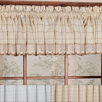 "Adirondack Cotton Kitchen Window Curtains – 12"" X 60"" Valance | Ebay For Hudson Pintuck Window Curtain Valances (Image 3 of 25)"