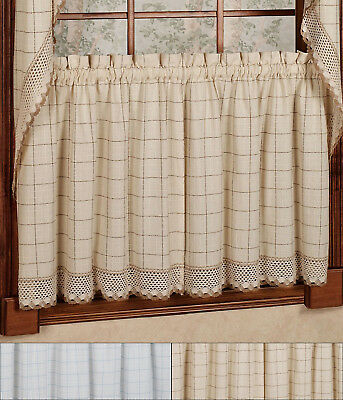 "Adirondack Cotton Kitchen Window Curtains – 24"" X 60"" Tier For Cumberland Tier Pair Rod Pocket Cotton Buffalo Check Kitchen Curtains (View 23 of 25)"