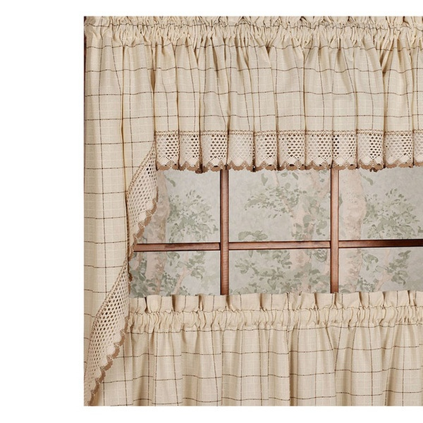 """Adirondack Cotton Kitchen Window Curtains 38"""" Swag Pair Throughout Cotton Classic Toast Window Pane Pattern And Crotchet Trim Tiers (View 3 of 25)"""