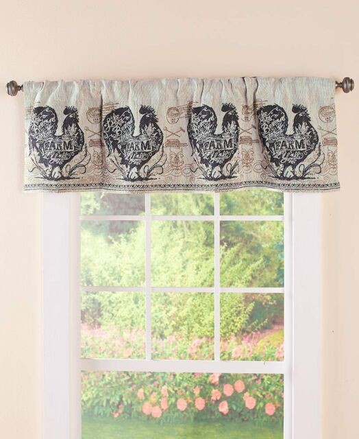 Agrarian French Country Rooster Tapestry Valance Rooster Farmhouse Valance With Regard To Barnyard Buffalo Check Rooster Window Valances (Image 1 of 25)