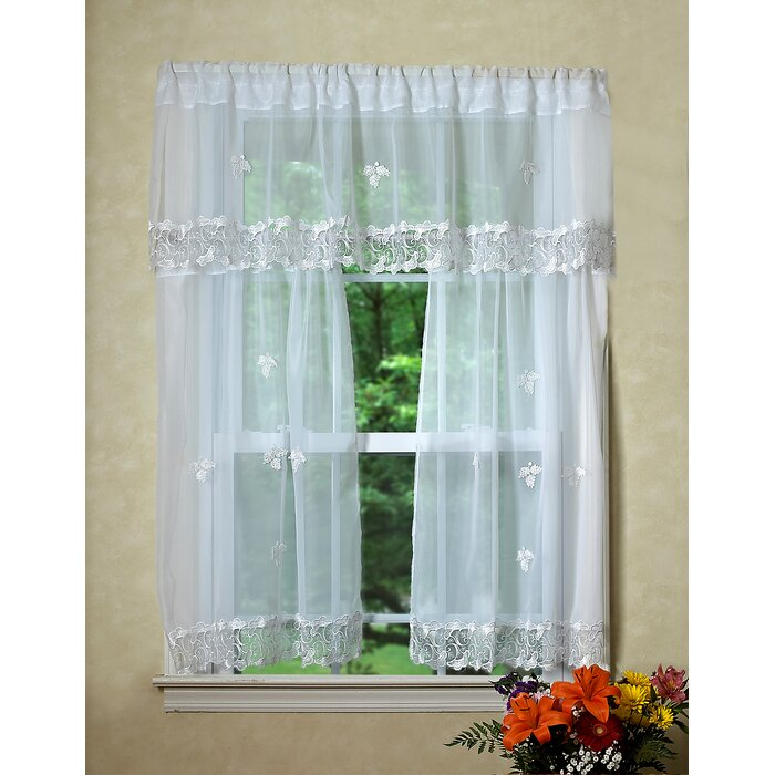 Alaysia Sheer Kitchen Curtain Valance And Tier Set Within Semi Sheer Rod Pocket Kitchen Curtain Valance And Tiers Sets (Image 1 of 25)