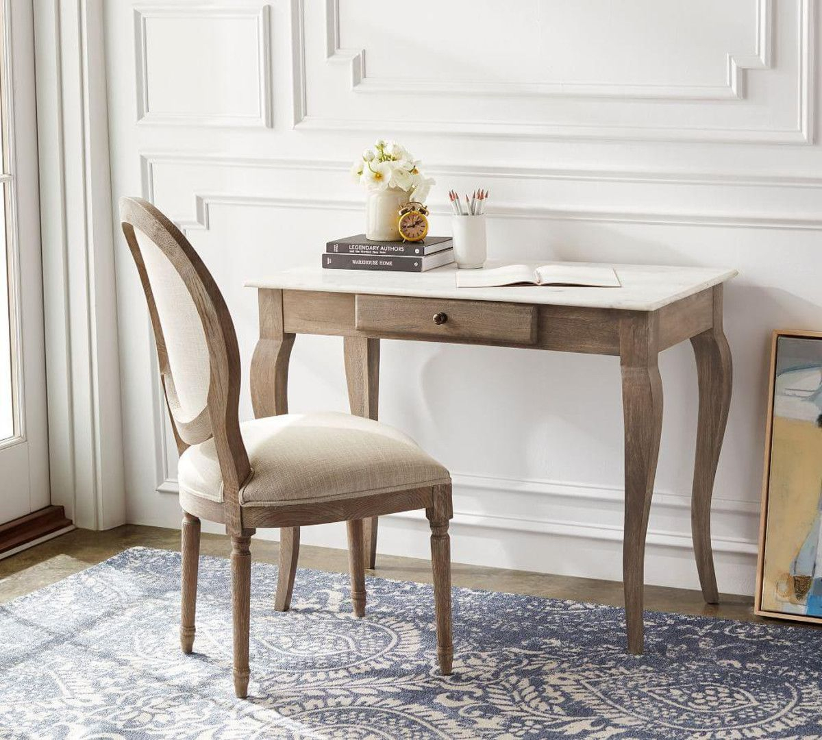 Alexandra Desk | Pottery Barn Ca In 2019 | Marble Desk Regarding Most Recent Alexandra Round Marble Pedestal Dining Tables (Image 3 of 25)