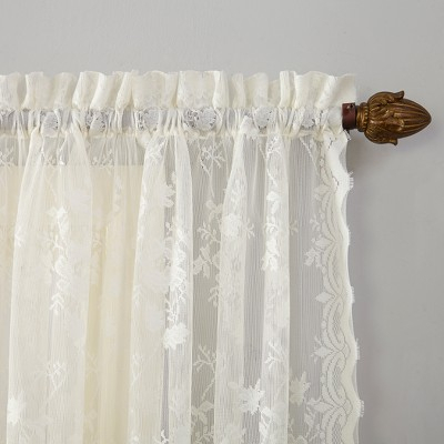 Alison Ruffled Floral Lace Priscilla Sheer Curtain Ivory Regarding Elegant White Priscilla Lace Kitchen Curtain Pieces (View 6 of 25)
