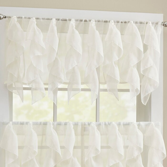 Alonza Window Valance With Silver Vertical Ruffled Waterfall Valance And Curtain Tiers (View 12 of 25)