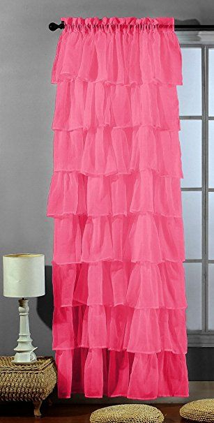 Amazon: 2 Piece Set Solid Hot Pink (Fuchsia) Gypsy Pertaining To Elegant Crushed Voile Ruffle Window Curtain Pieces (View 4 of 25)