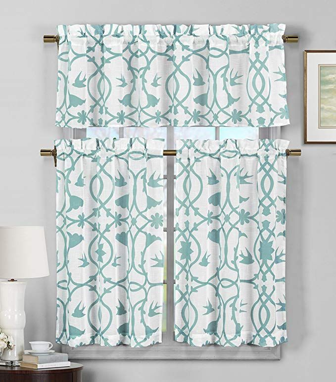Amazon: Duck 3 Piece Semi Sheer Window Curtain Set Throughout Geometric Print Microfiber 3 Piece Kitchen Curtain Valance And Tiers Sets (View 10 of 25)