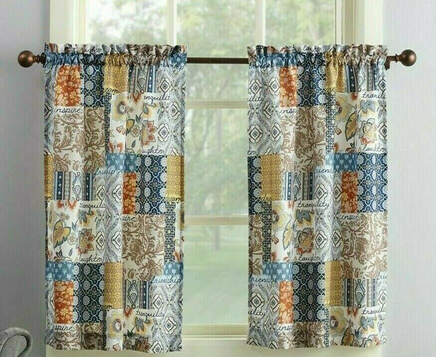Amelia Patchwork Curtain Valance Set 3Pc Navy Blue Tan Spice Microfiber Kitchen In Microfiber 3 Piece Kitchen Curtain Valance And Tiers Sets (View 3 of 25)