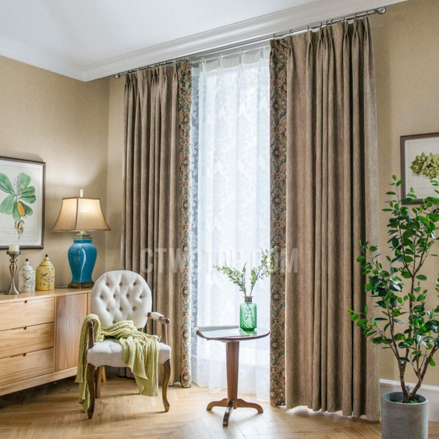 American Simple Polyester Print Light Coffee Damask Curtains With Pastel Damask Printed Room Darkening Kitchen Tiers (View 16 of 25)