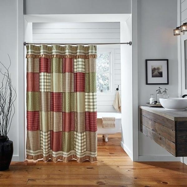 Americana Shower Curtains Primitive Red Farmhouse Bath Throughout Rod Pocket Cotton Striped Lace Cotton Burlap Kitchen Curtains (View 7 of 25)