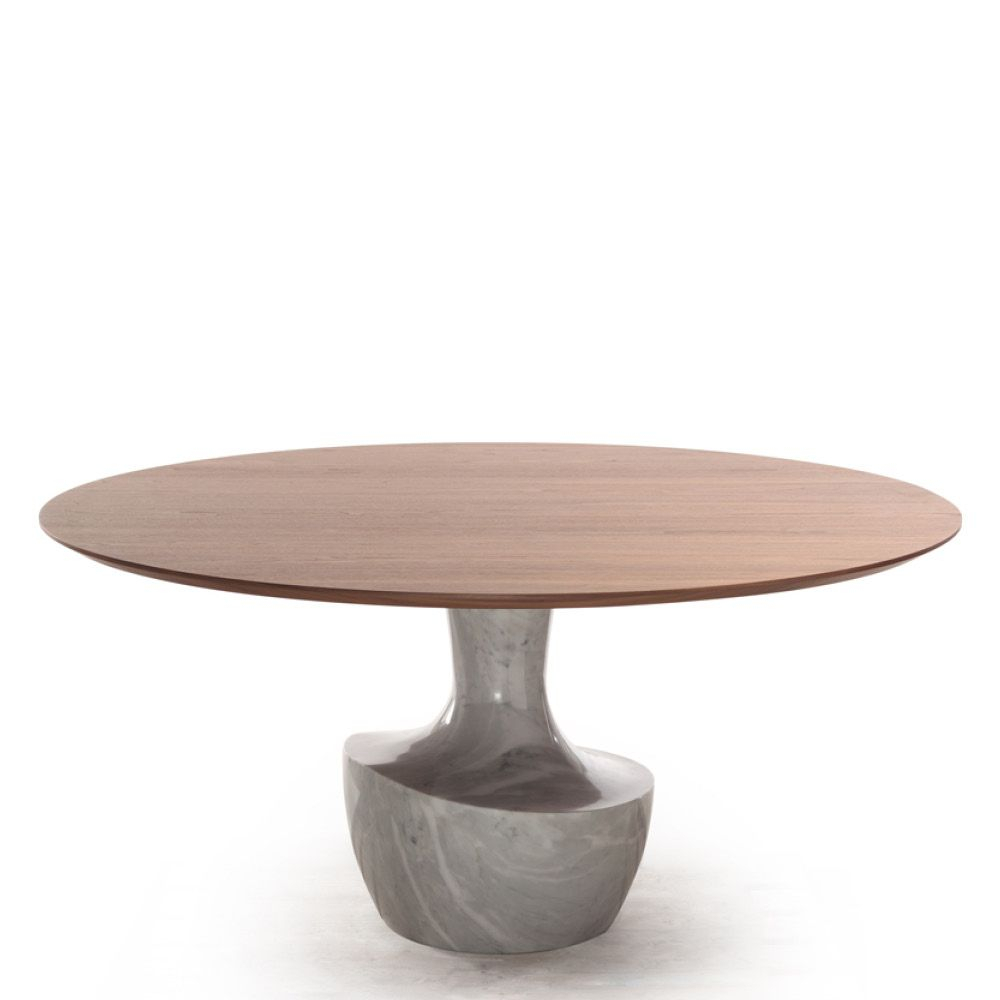 Anfora Table Base Bianco Carrara Marble (Glossy/mat) Top Regarding Most Up To Date Alexandra Round Marble Pedestal Dining Tables (Image 7 of 25)