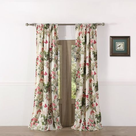 Annaelle Floral/flower Semi Sheer Rod Pocket Curtain Panels With Regard To Floral Watercolor Semi Sheer Rod Pocket Kitchen Curtain Valance And Tiers Sets (View 14 of 25)