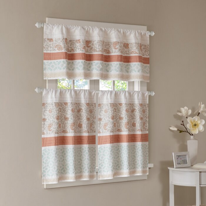 Anni Printed Kitchen Curtain For Serene Rod Pocket Kitchen Tier Sets (View 20 of 25)