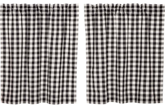 "Annie Black Buffalo Check Tier Curtains 36"" For Cumberland Tier Pair Rod Pocket Cotton Buffalo Check Kitchen Curtains (View 14 of 25)"