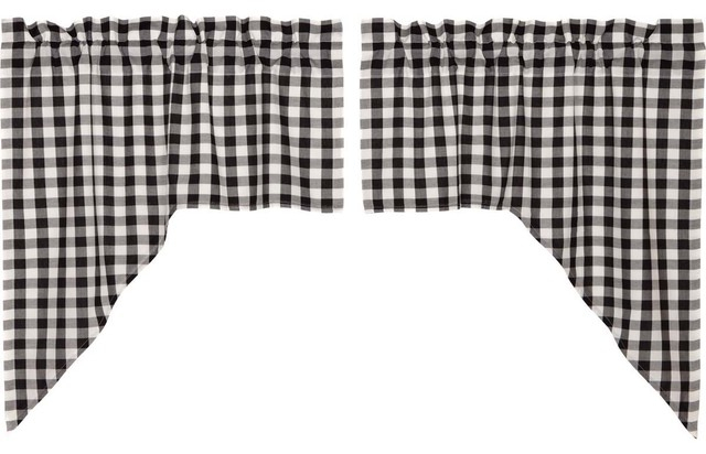 Annie Buffalo Check Black Lined Swag, Set Of 2 In Cumberland Tier Pair Rod Pocket Cotton Buffalo Check Kitchen Curtains (View 7 of 25)