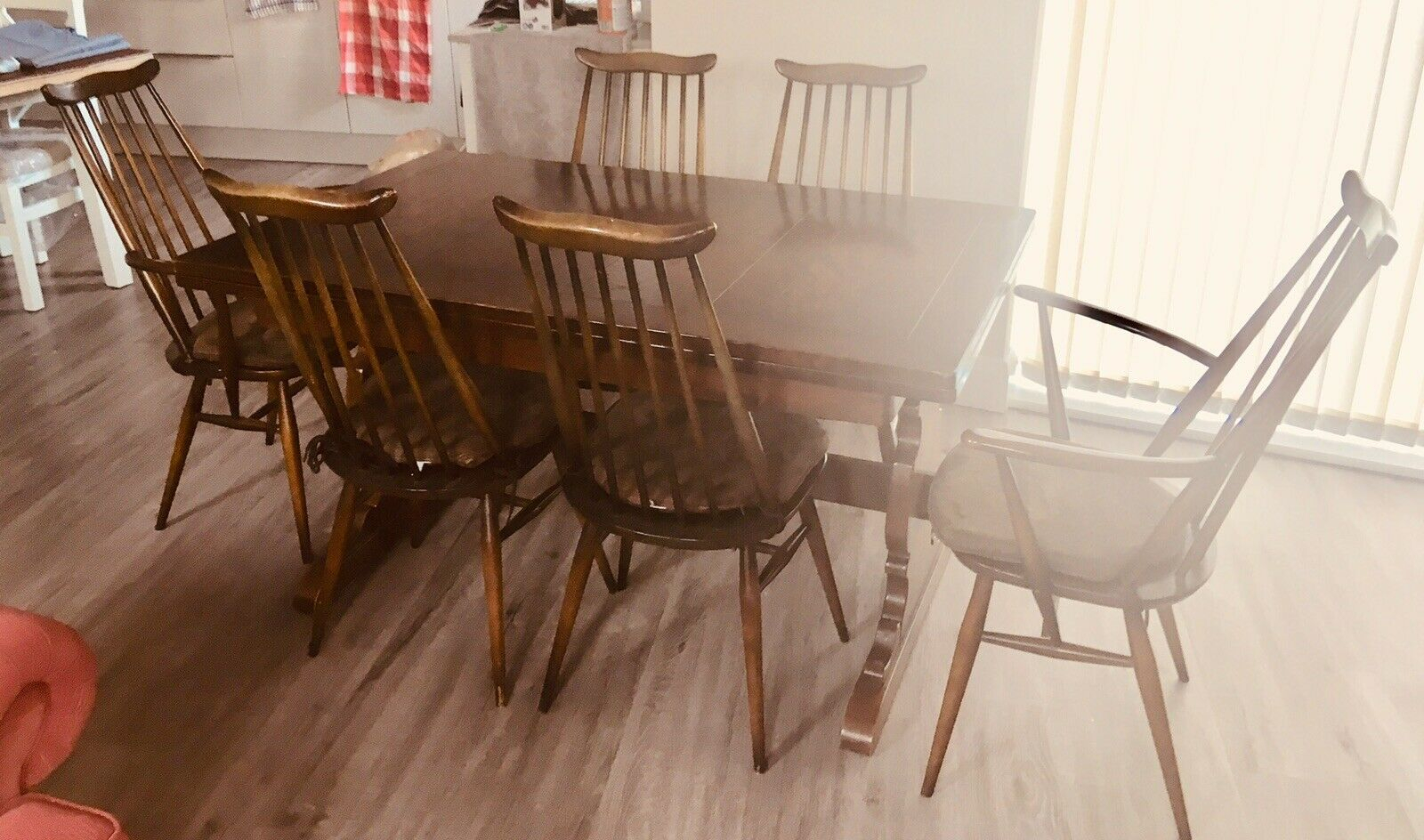 Antique Ercol Extending Extendable Dining Table & 6 Chairs. Can Seat (View 19 of 25)