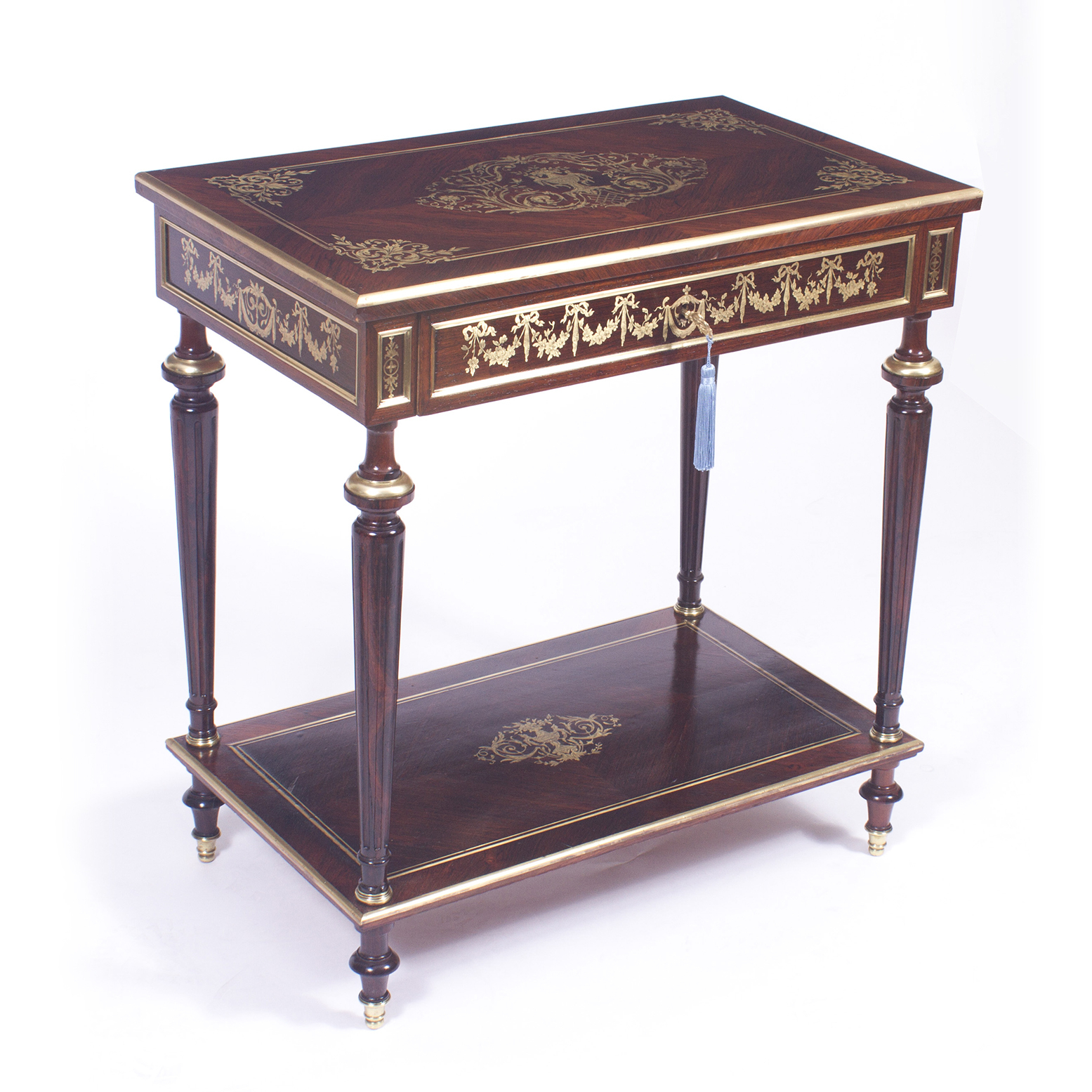 Antique French Cut Brass Inlaid Side / Dressing Table Regarding Most Recently Released Tuscan Chestnut Toscana Pedestal Extending Dining Tables (View 24 of 25)