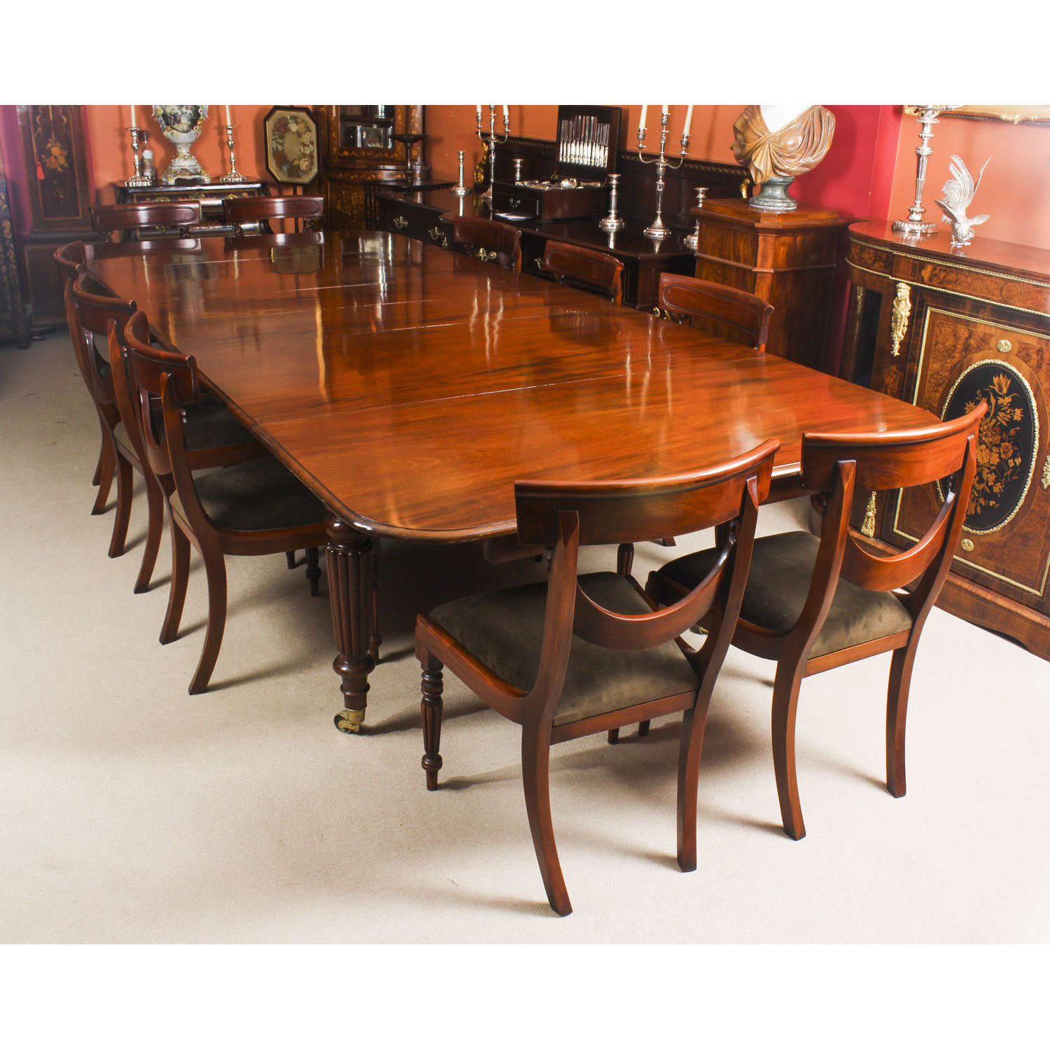 Antique Mahogany Extending Dining Table C1840 & 10 Chairs Regarding 2018 Rustic Mahogany Extending Dining Tables (View 10 of 25)