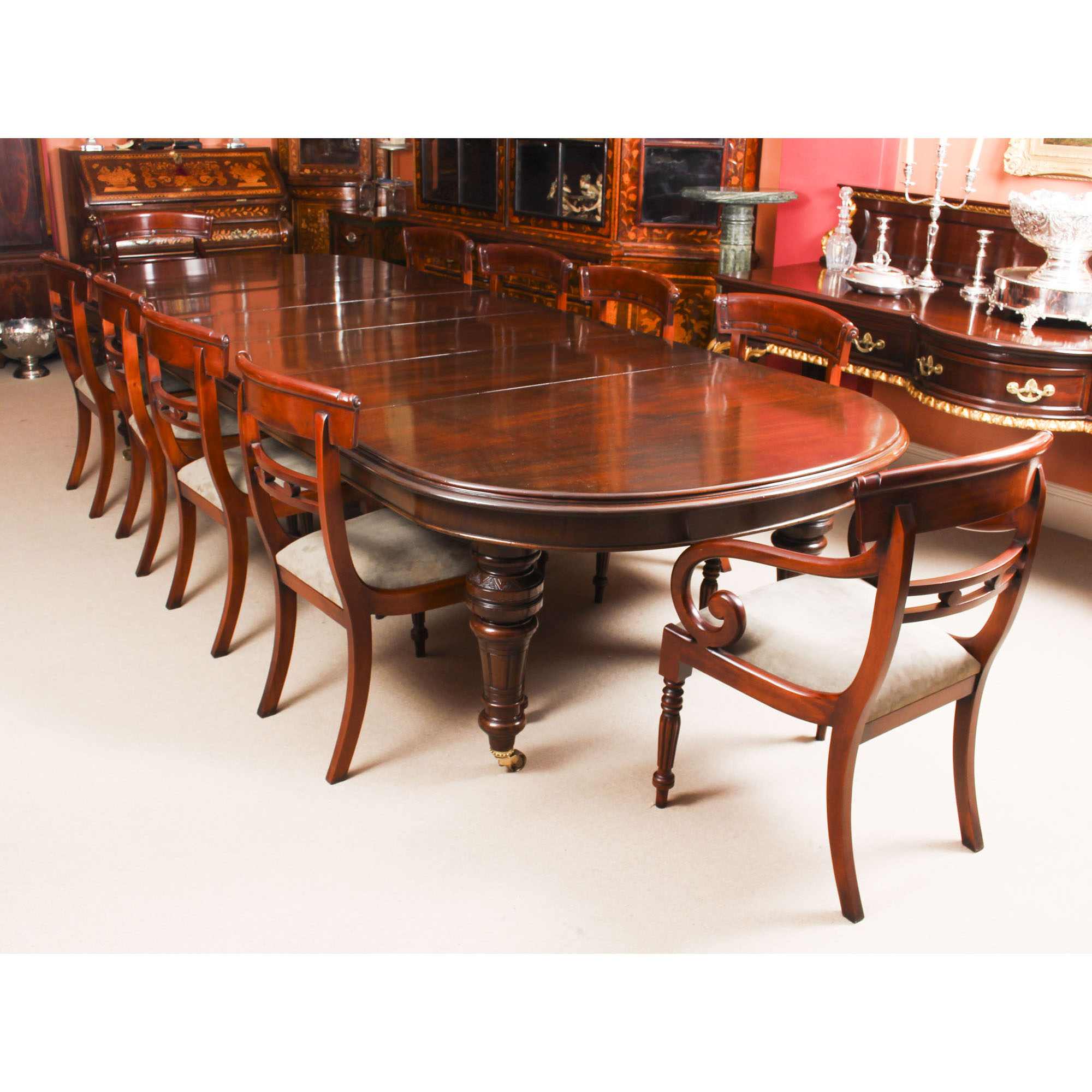 Antique Victorian Mahogany Dining Table C1870 & 10 Chairs Throughout Newest Rustic Mahogany Extending Dining Tables (View 15 of 25)
