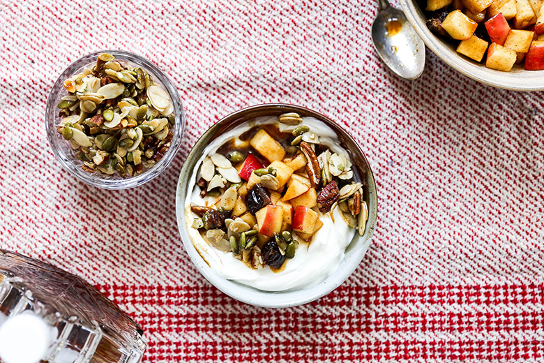 Apple Harvest Yogurt Bowls With Maple Nut Clusters Throughout Apple Orchard Printed Kitchen Tier Sets (View 7 of 25)