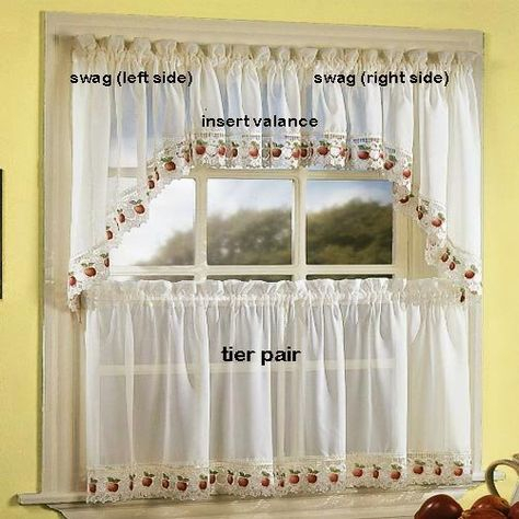 Featured Image of Sheer Lace Elongated Kitchen Curtain Tier Pairs