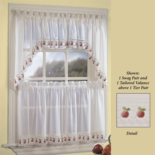 Apple Orchard Sheer Kitchen Tier Window Treatment Throughout Traditional Tailored Tier And Swag Window Curtains Sets With Ornate Flower Garden Print (View 14 of 25)